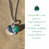 Personalised Emerald May birthstone and initial sterling silver necklace