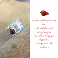 Personalised Garnet January birthstone name and date spinner ring