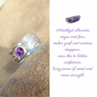 Personalised Amethyst February birthstone name and date spinner ring