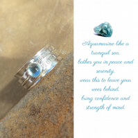 Personalised Aquamarine March birthstone name and date spinner ring