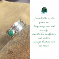 Personalised Emerald May birthstone name and date spinner ring