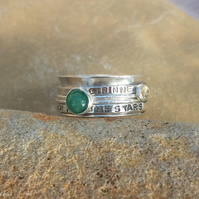Personalised Emerald May birthstone and Citrine statement spinner ring