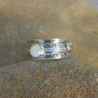 Personalised Moonstone June birthstone and Citrine statement spinner ring