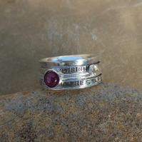 Personalised Ruby July birthstone and Citrine statement spinner ring