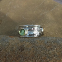 Personalised Peridot August birthstone and Citrine statement spinner ring
