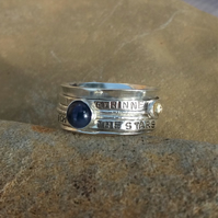 Personalised Sapphire September birthstone and Citrine statement spinner ring
