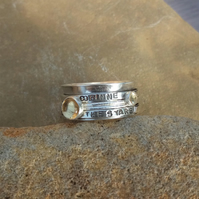 Personalised Citrine November birthstone and Citrine statement spinner ring