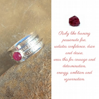 Personalised Ruby July birthstone name and date spinner ring