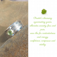 Personalised Peridot August birthstone name and date spinner ring