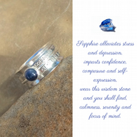 Personalised Sapphire September birthstone name and date spinner ring