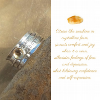 Personalised Citrine November birthstone name and date spinner ring