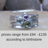 Personalised 3 birthstone spinner ring in sterling silver - made to order