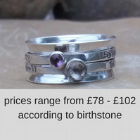 Personalised birthstone spinner ring in sterling silver - made to order