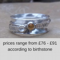 Personalised spinner ring in sterling silver with 2 names and birthstones