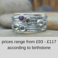 Personalised birthstone and initial spinner ring in sterling silver