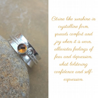 Personalised Citrine November birthstone and initial spinner ring
