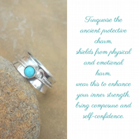 Personalised Turquoise December birthstone and initial spinner ring