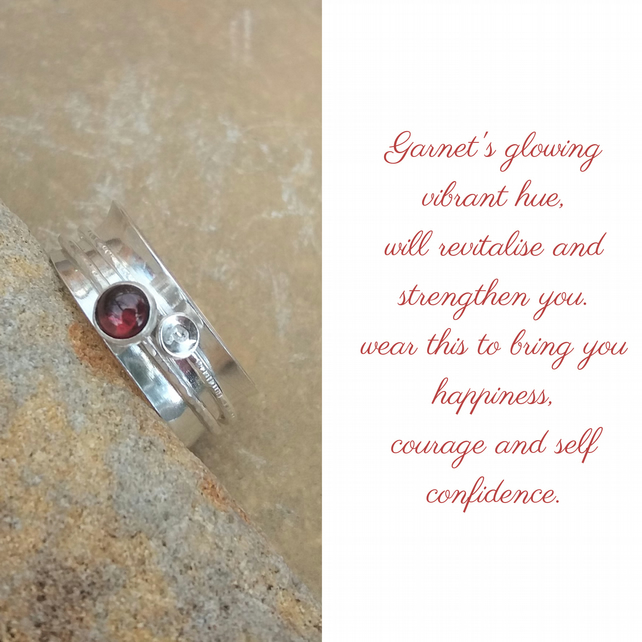 Personalised Garnet January birthstone and initial spinner ring