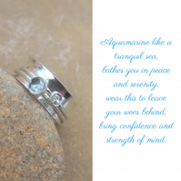 Personalised Aquamarine March birthstone and initial spinner ring