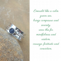 Personalised Emerald May birthstone and initial spinner ring
