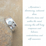 Personalised Moonstone June birthstone and initial spinner ring