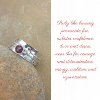 Personalised Ruby July birthstone and initial spinner ring
