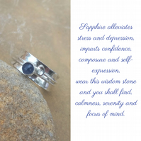 Personalised Sapphire September birthstone and initial spinner ring