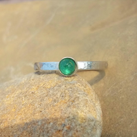 Personalised 4mm birthstone, name and DOB ring with Emerald for May