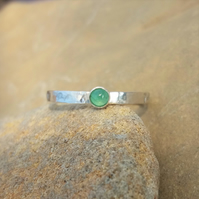 Personalised 3mm birthstone, name and DOB ring with Ruby, Emerald or Sapphire