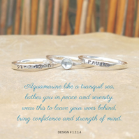 Personalised 4mm Aquamarine March birthstone stacking ring set of 3 name and DOB