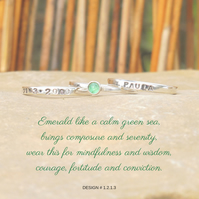 Personalised 3mm Emerald May birthstone stacking ring set of 3 name and DOB