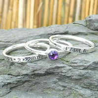 Personalised 4mm Amethyst February birthstone and name stacking ring set of 3
