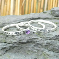 Personalised 3mm Amethyst February birthstone and name stacking ring set of 3