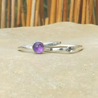 Personalised Amethyst February birthstone and initial stacking ring set of two
