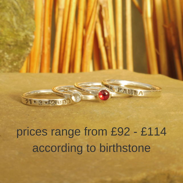 Personalised sterling silver name and birthstone stack of four rings