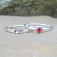 Personalised 4mm Garnet January birthstone and initial stacking ring set of two