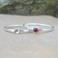 Personalised 3mm Garnet January birthstone and initial stacking ring set of two