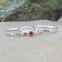 Personalised 4mm Garnet January birthstone stacking ring set of 3 name and DOB