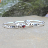 Personalised 3mm Garnet January birthstone stacking ring set of 3 name and DOB