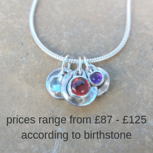 Personalised 3 birthstone and initial sterling silver necklace