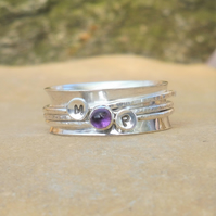 Personalised Amethyst February birthstone and initials spinner ring