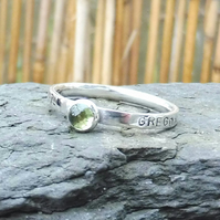 Personalised 4mm Peridot, August birthstone, name and DOB silver ring