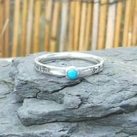 Personalised 3mm Turquoise, December birthstone, name and DOB silver ring