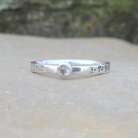 Personalised 3mm Clear Quartz, April birthstone, name and DOB silver ring