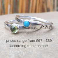Personalised stacking rings set of 2 with 3mm and 4mm birthstones, names and DOB