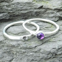 Personalised 4mm Amethyst February birthstone and initial stacking ring set
