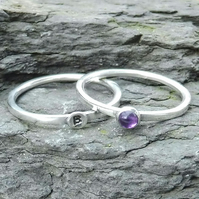 Personalised 3mm Amethyst February birthstone and initial stacking ring set