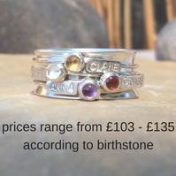 Personalised spinner ring in sterling silver with 4 names and birthstones