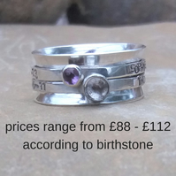Personalised birthstone and name spinner ring in sterling silver