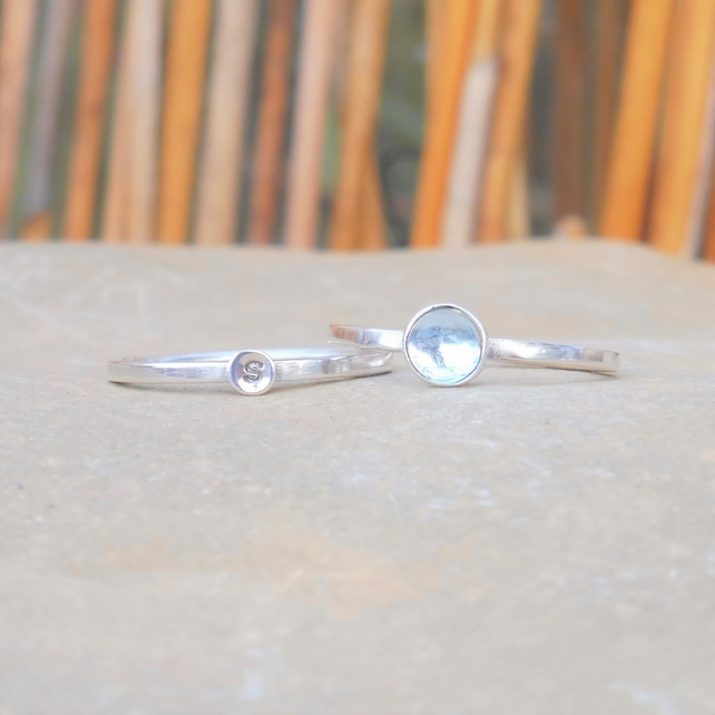 Personalised 5mm Aquamarine March birthstone and initial stacking ring set